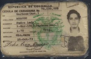 Cédula de ciudadano de Pedro León Arango