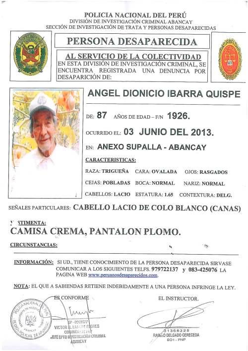 Denuncia policial sobre desaparición de Ángel Ibarra Quispe